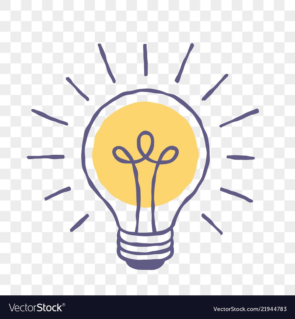 Lamp idea lightbulb doodle sketch icon Royalty Free Vector