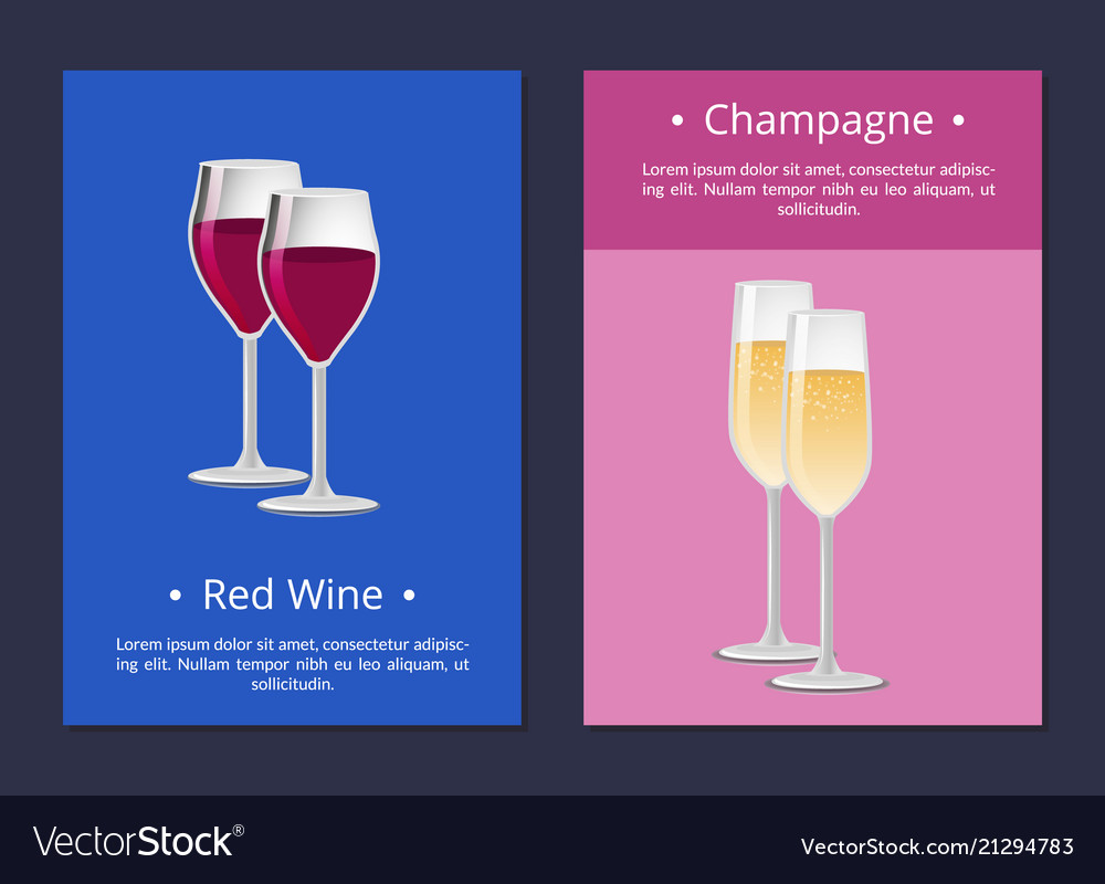 Red wine and champagne glasses set posters