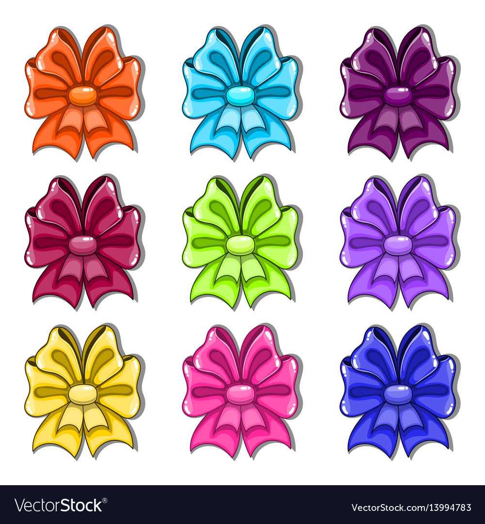 Set with cartoon colorful bows