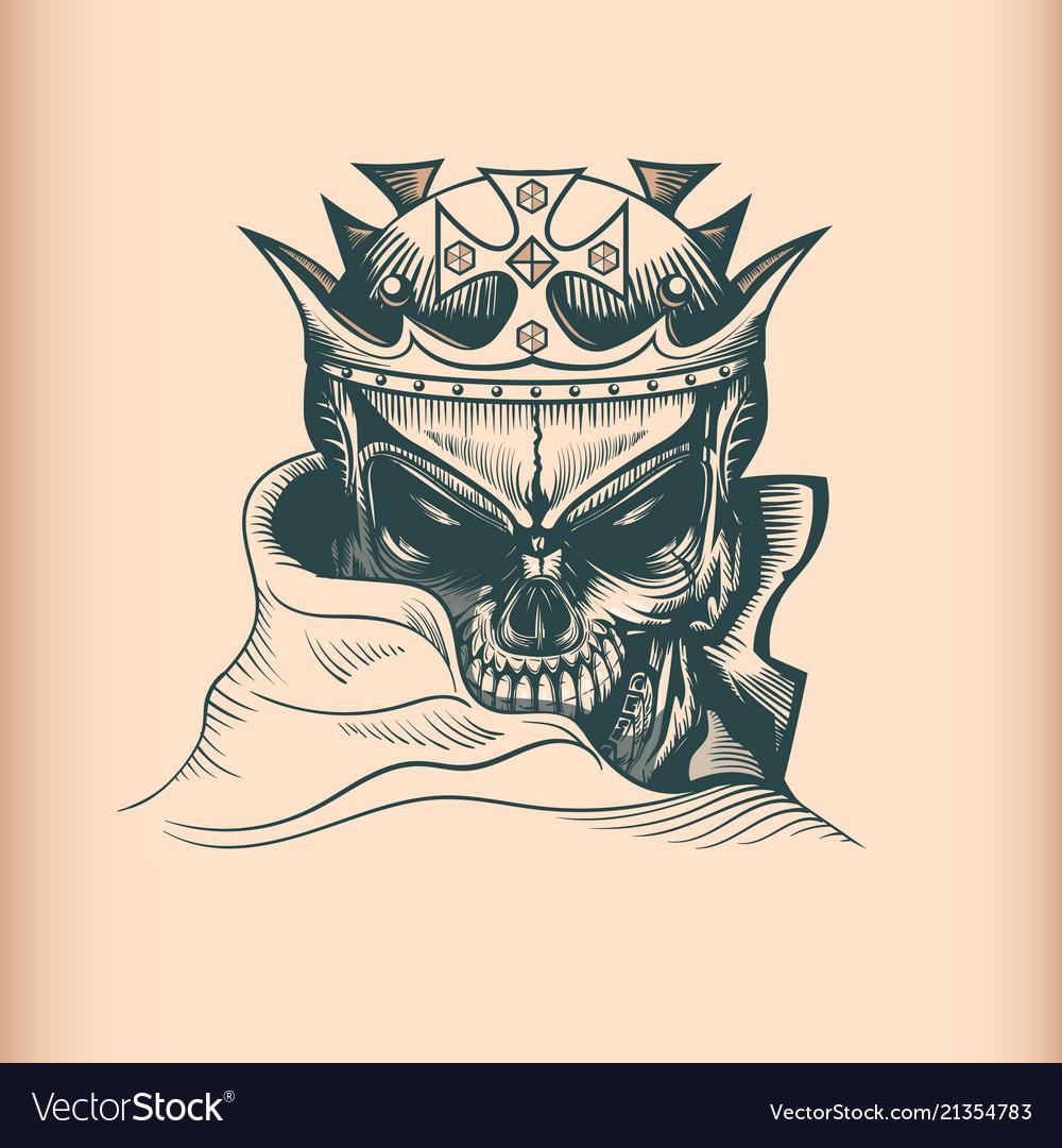 Vintage king skull monochrome hand drawn tattoo