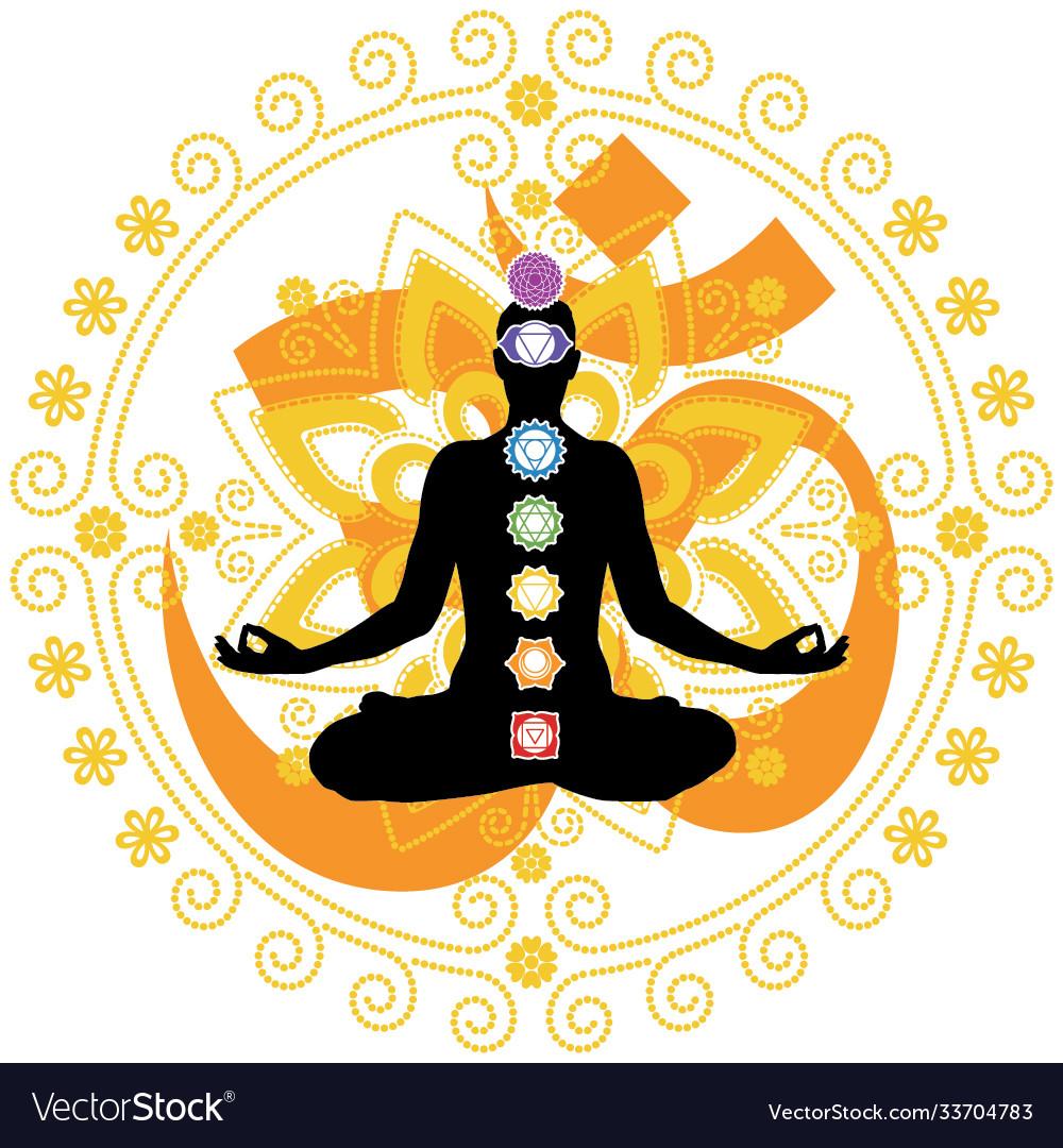 Woman in yoga lotus pose with chakra symbols