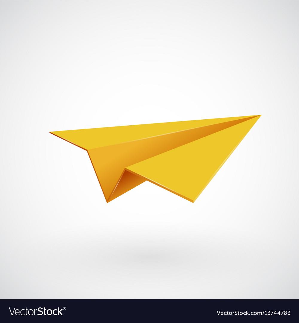 Yellow paper airplane illsutration