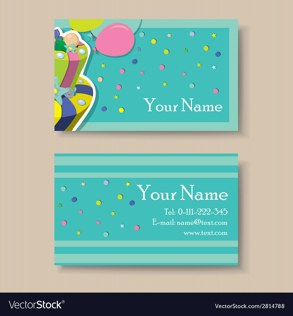 Business Card With Birthday Cake Royalty Free Vector Image