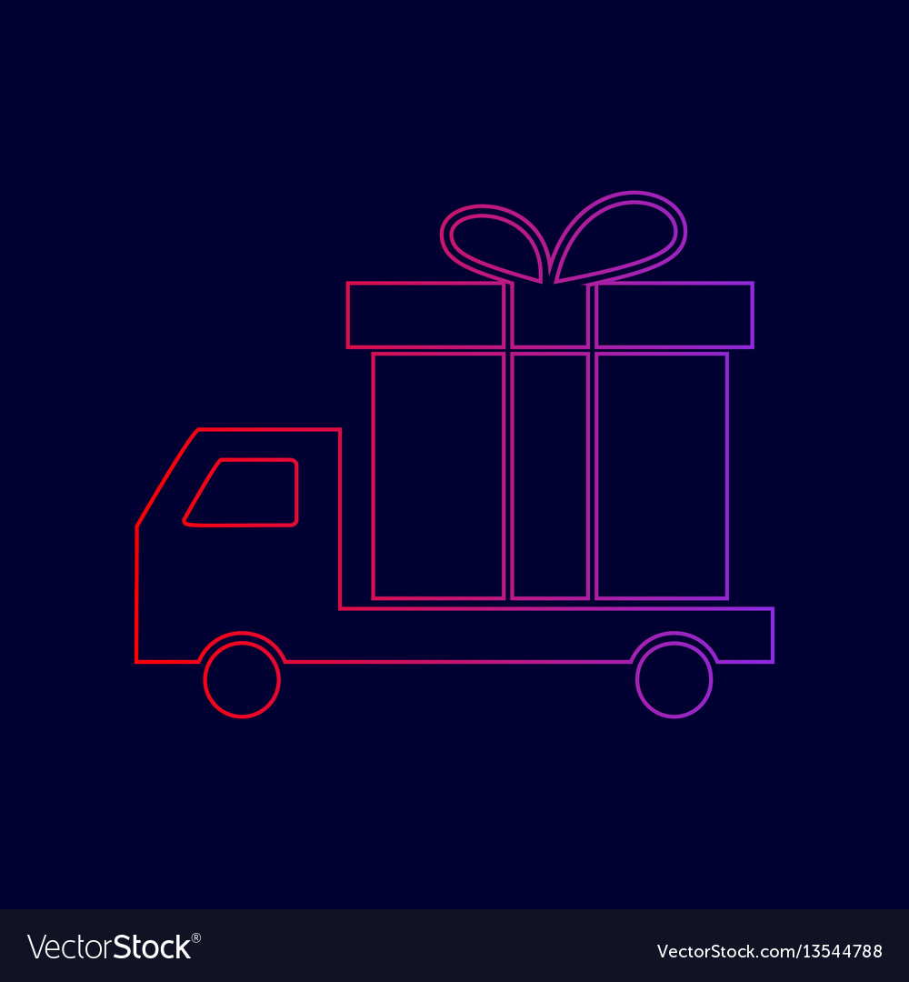 Delivery gift sign line icon with
