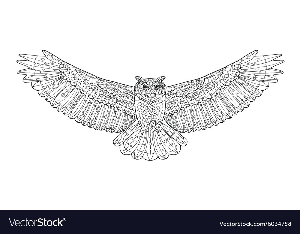 Eagle owl Coloring page Ethnic patterned