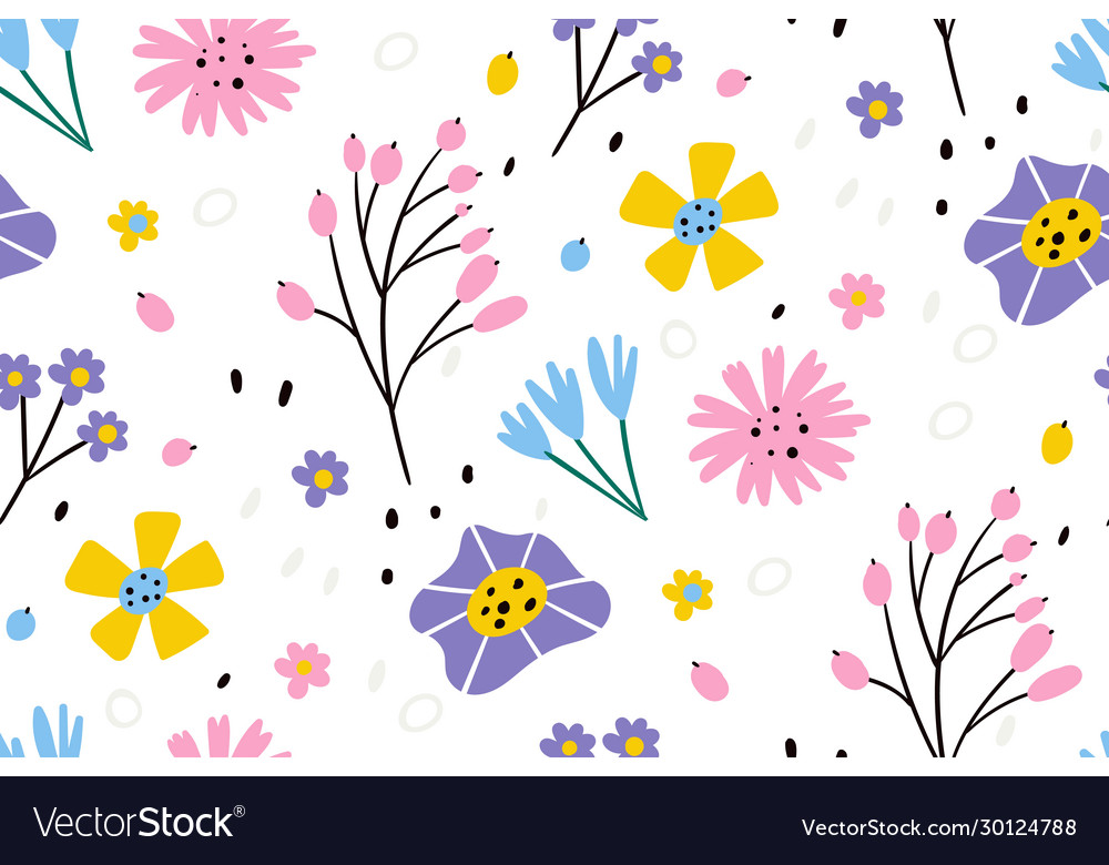 Floral pattern in doodle style with flowers
