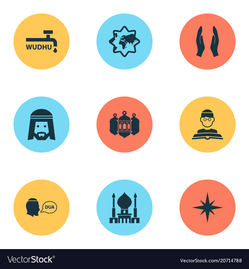 Holiday icons set with wudhu qiblah islamic and vector image