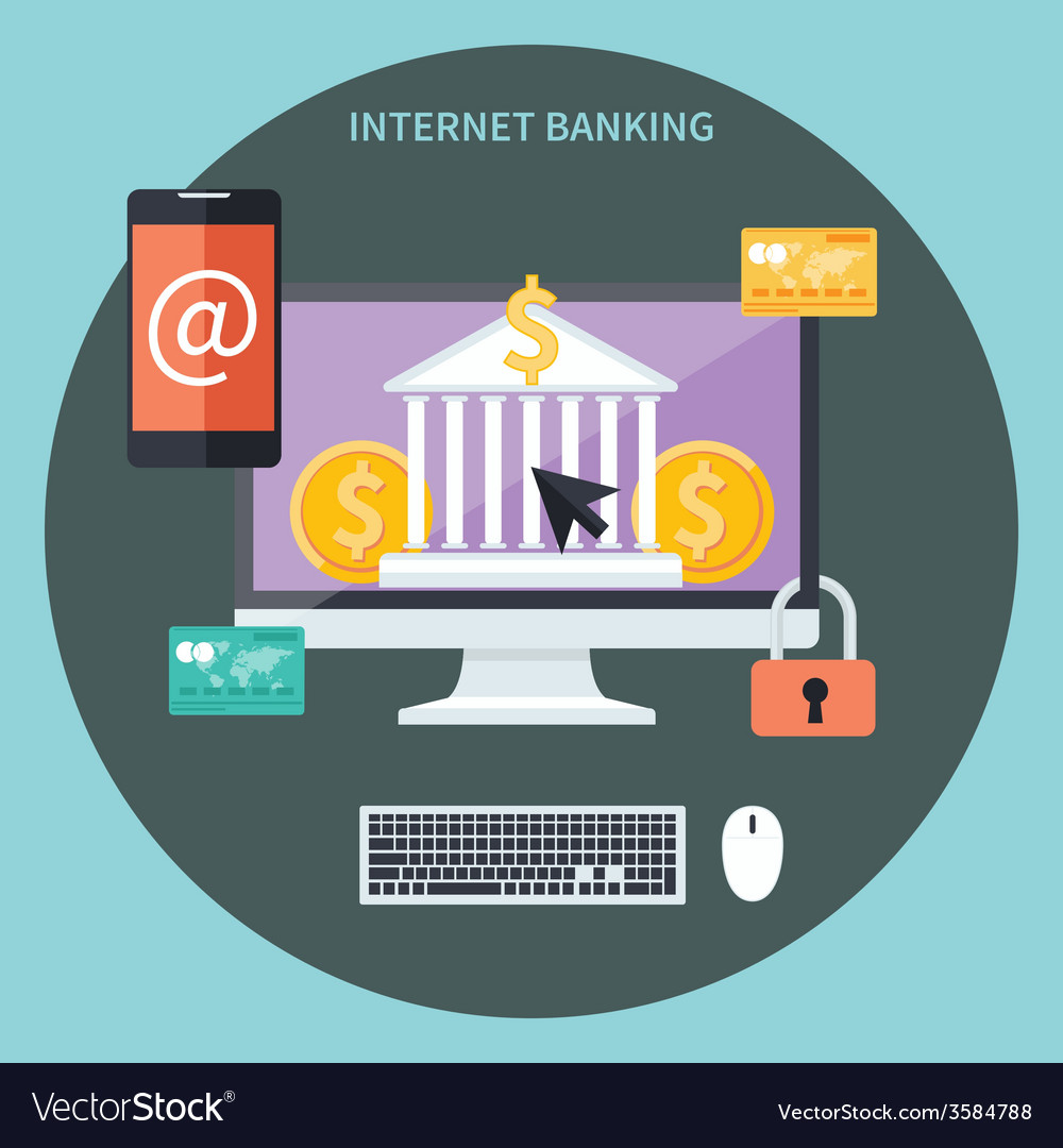 Internet banking and security deposit concept vector image