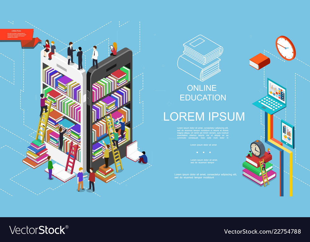 Isometric online education and learning concept