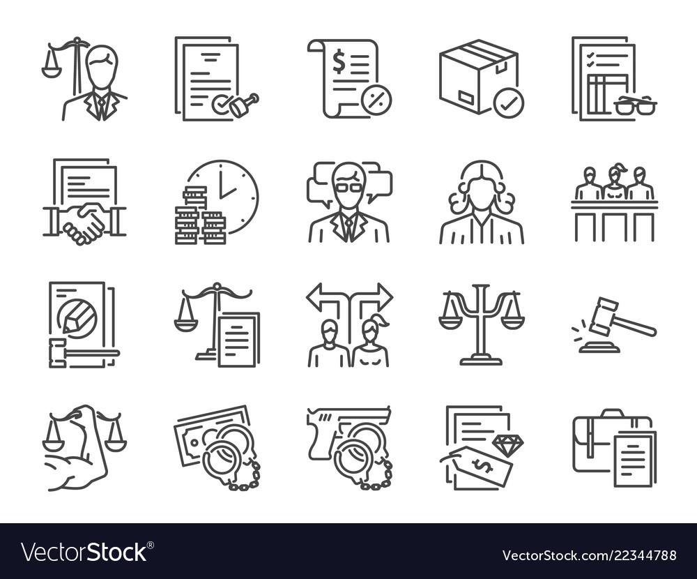 Legal services icon set