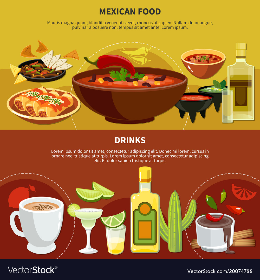 Mexican food and drinks banners vector image