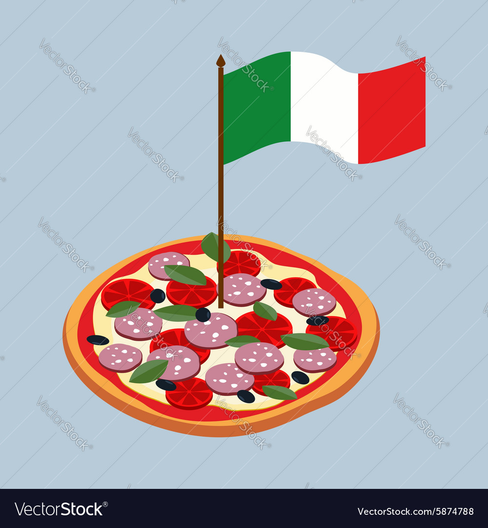 pizza with flag of italy italian national food vector image