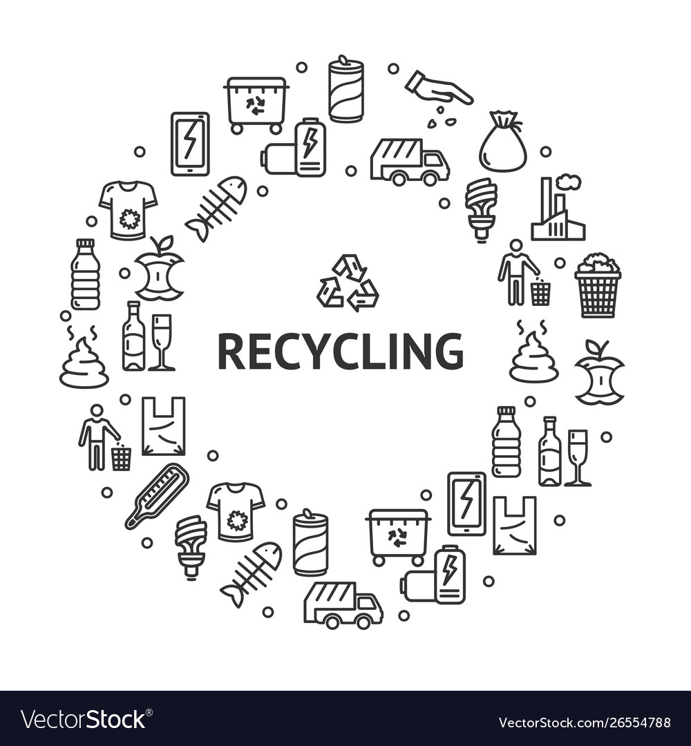 Recycling signs round design template thin line