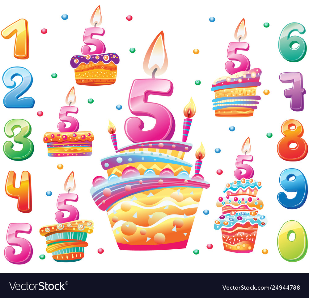 Set happy birthday cakes and numbers for each