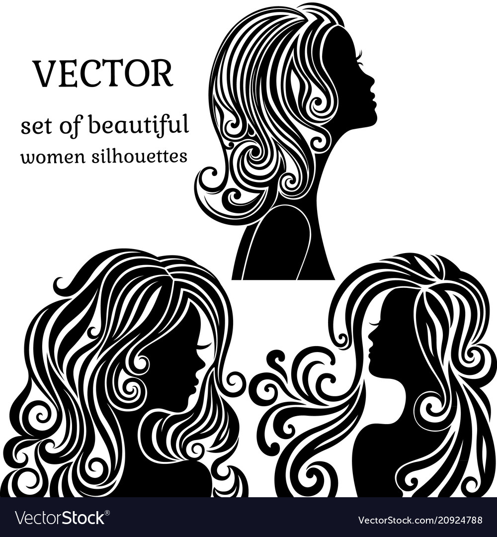 Set of women head silhouettes with curly