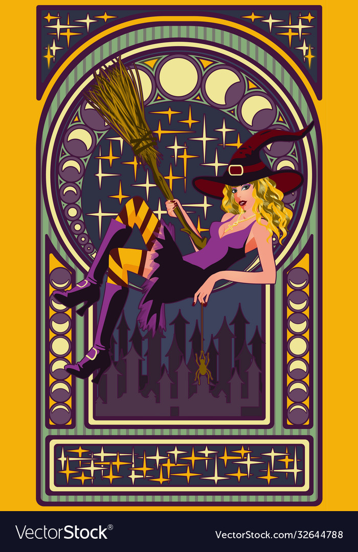 Sexy witch with a broom art nouveau style card