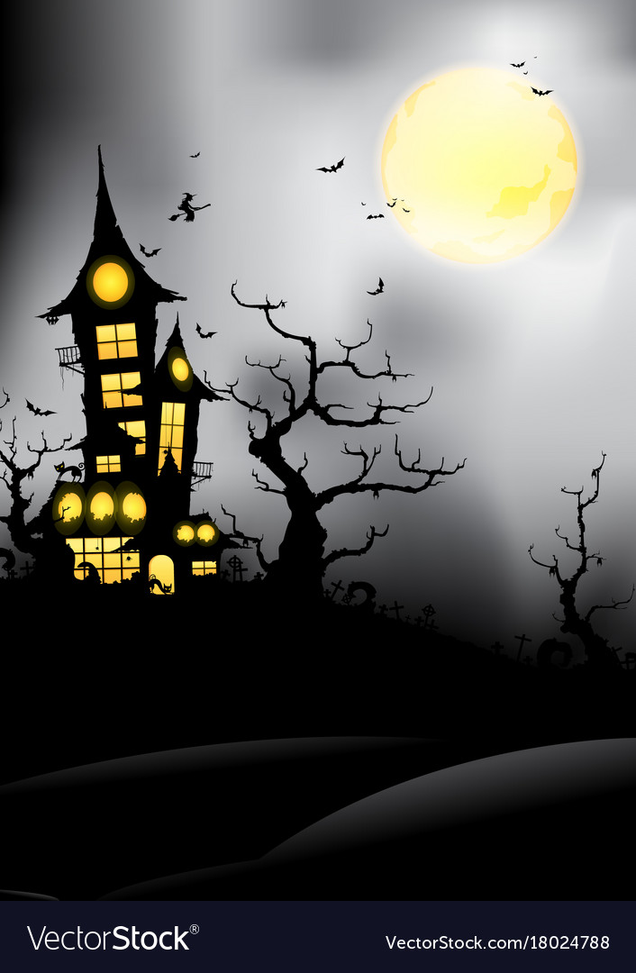 Silhouette castle at night