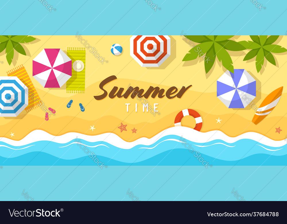 Tropical summer beach top view