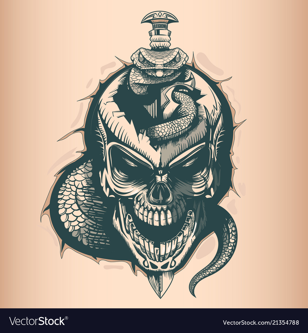 Vintage skull with sword and snake monochrome