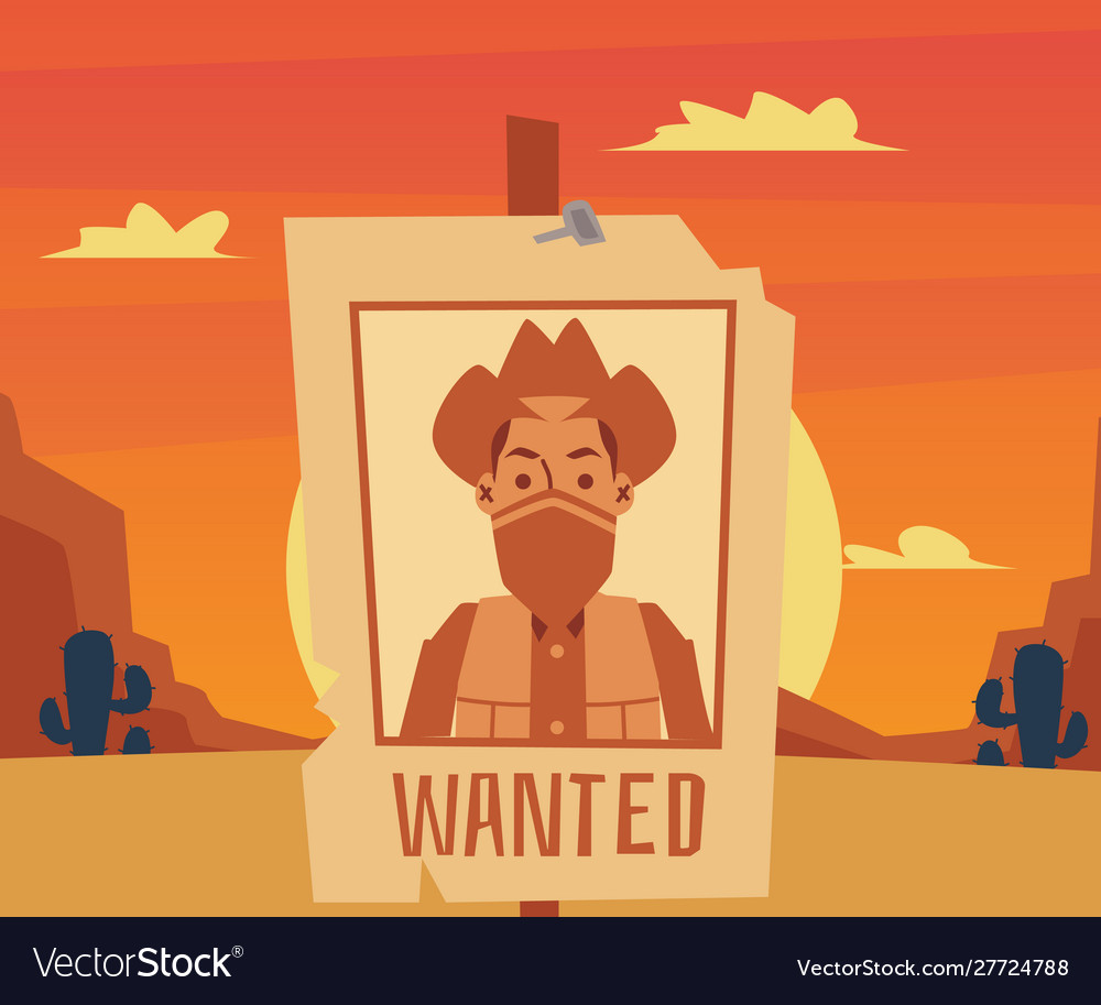 Wanted poster for cartoon cowboy on desert sunset