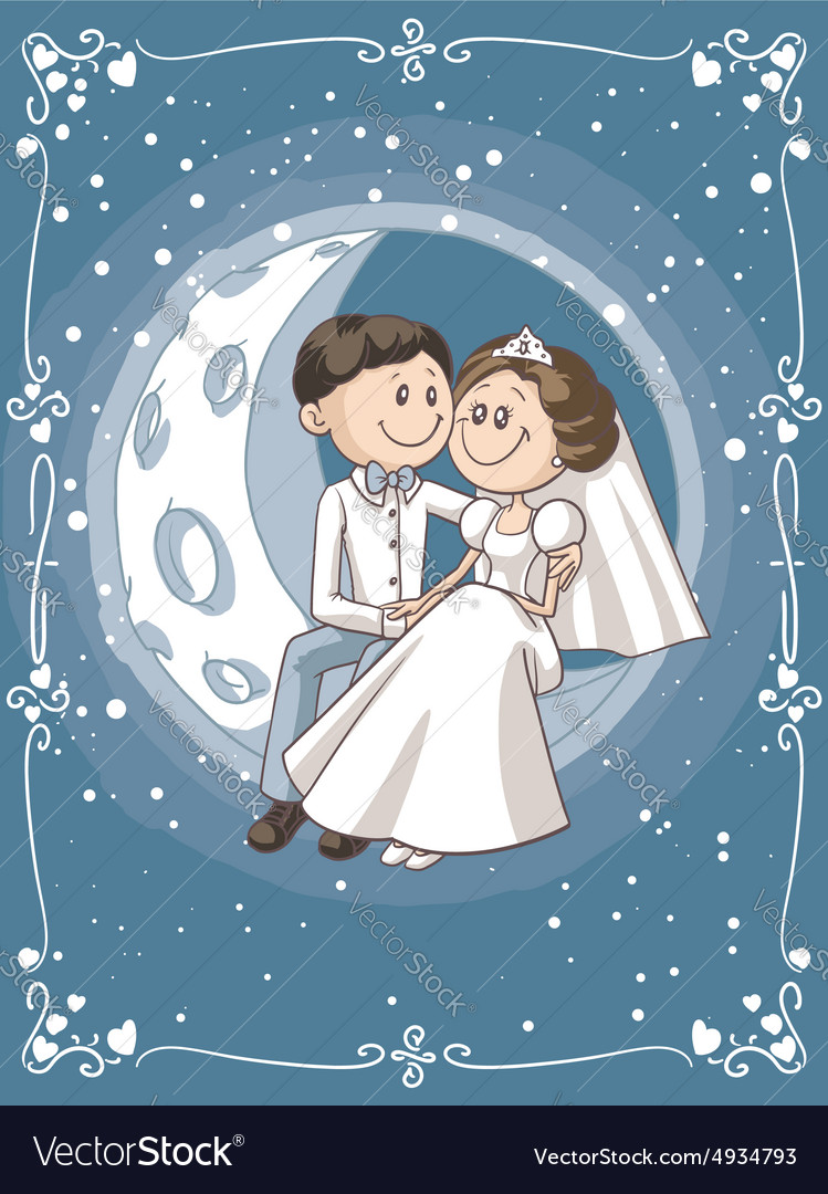 Bride and Groom Sitting on the Moon Cartoon