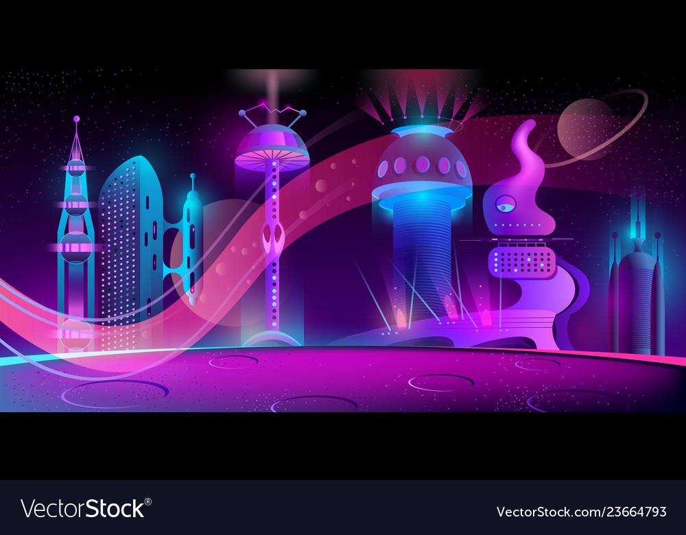 Futuristic city on other planet megapolis