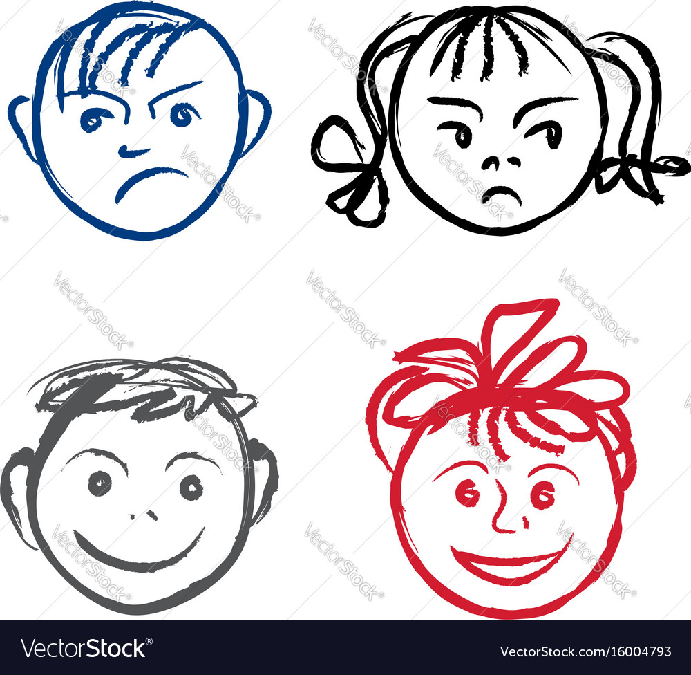 kids smile and sad face faces profile with vector image