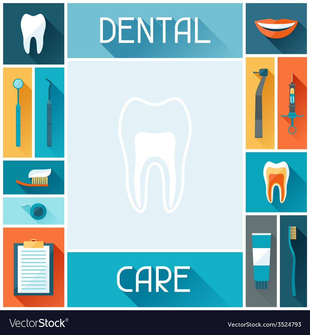 Medical Background Design With Dental Icons Vector Image