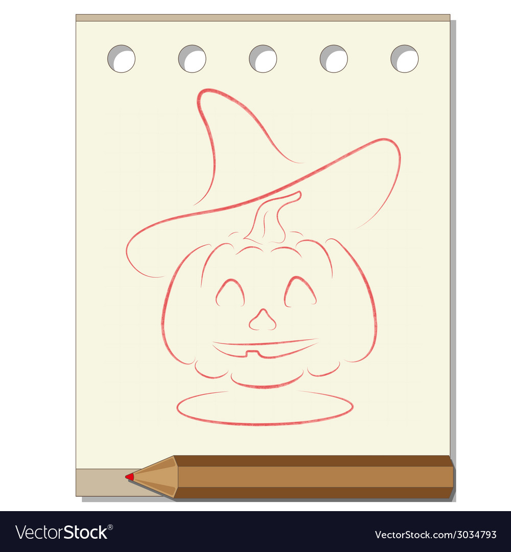 Pencil drawing on the theme of Halloween vector image on VectorStock