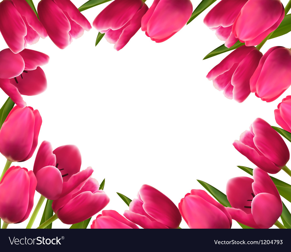 Pink Fresh Spring Flowers Background Royalty Free Vector