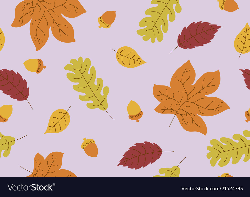 Seamless pattern of autumn leaves and acorn fall