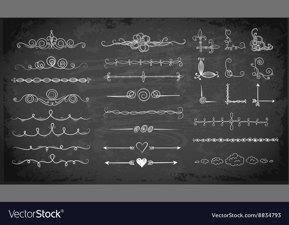 Set of doodle sketch decorative dividers
