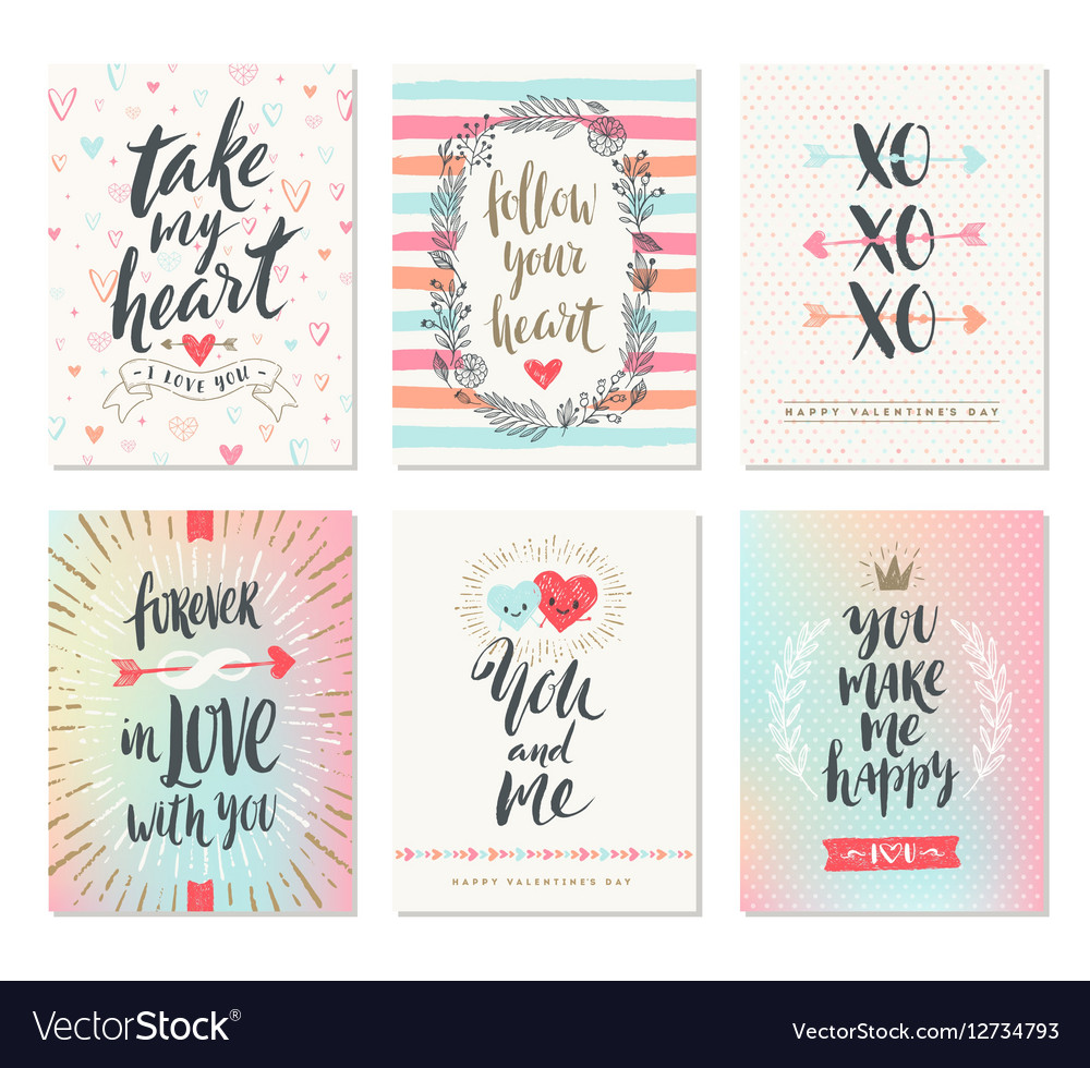 Set of Valentines Day hand drawn greetings