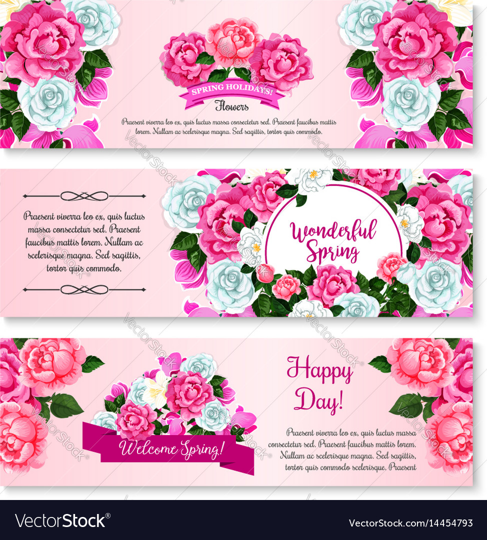 Spring flower bouquet for greeting banner template spring flower bouquet for greeting banner template vector image mightylinksfo