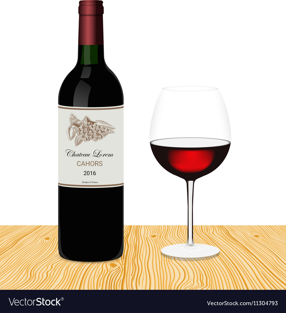 Template of bottle of red wine with glass made in