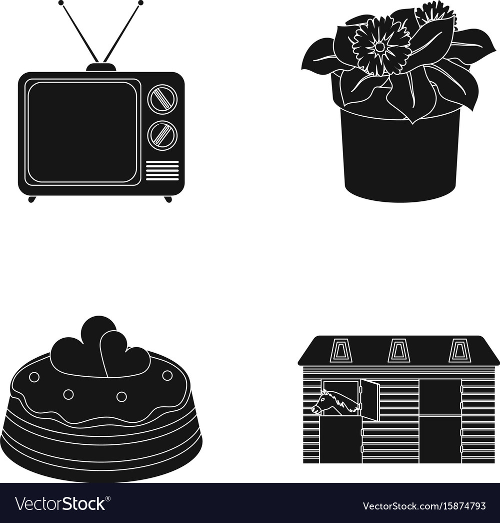 Tv flowerpot and other web icon in black style vector image