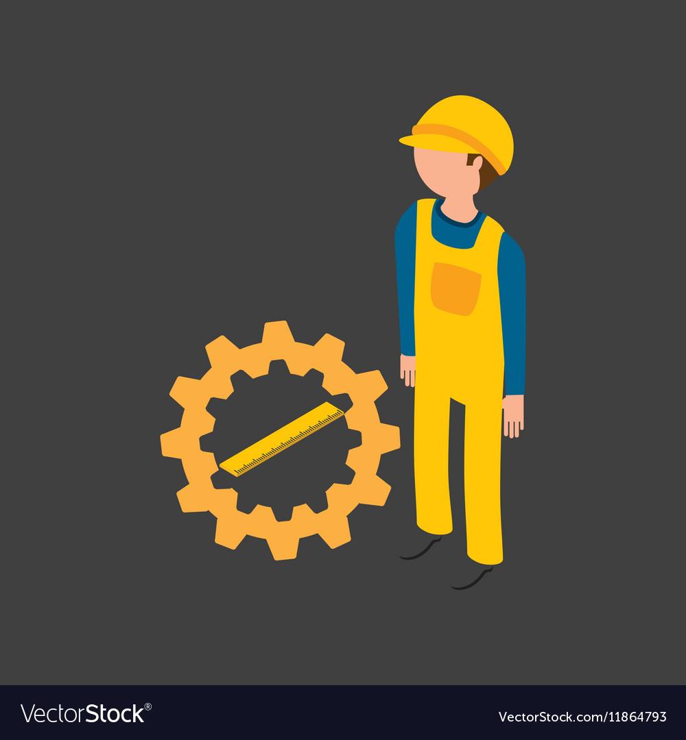 Under construction gear ruler icon vector image