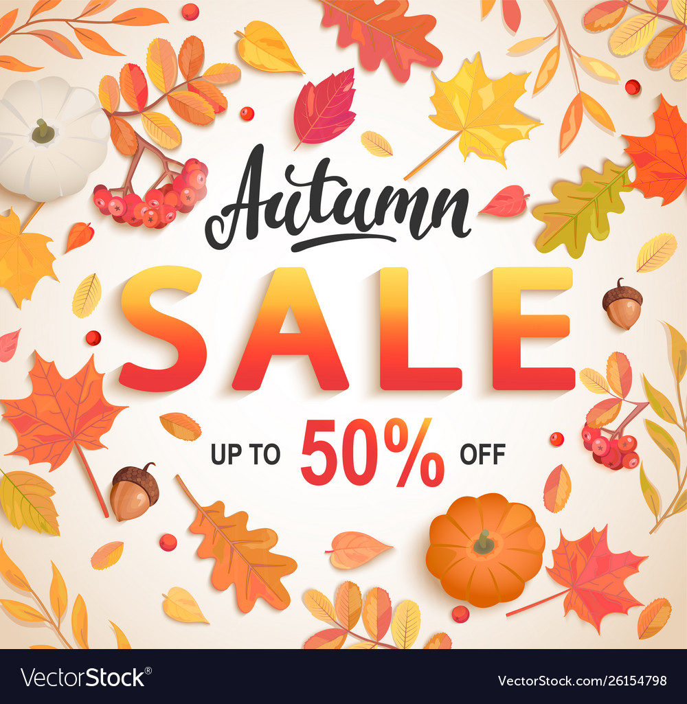 Autumn big sale banner 50 percent discount card vector