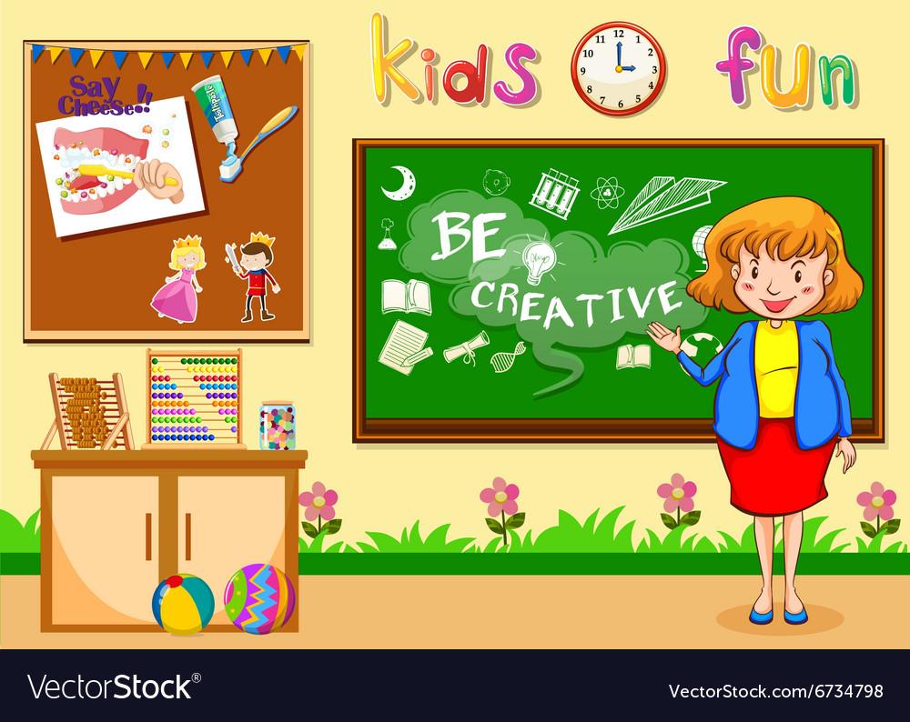 Female teacher teaching in the classroom vector image