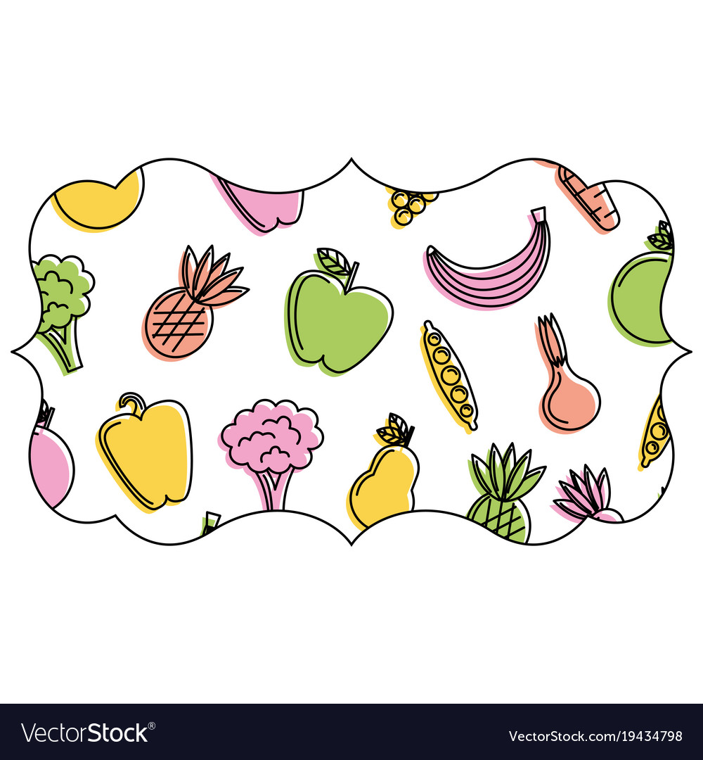 Frame with fruits and vegetables pattern