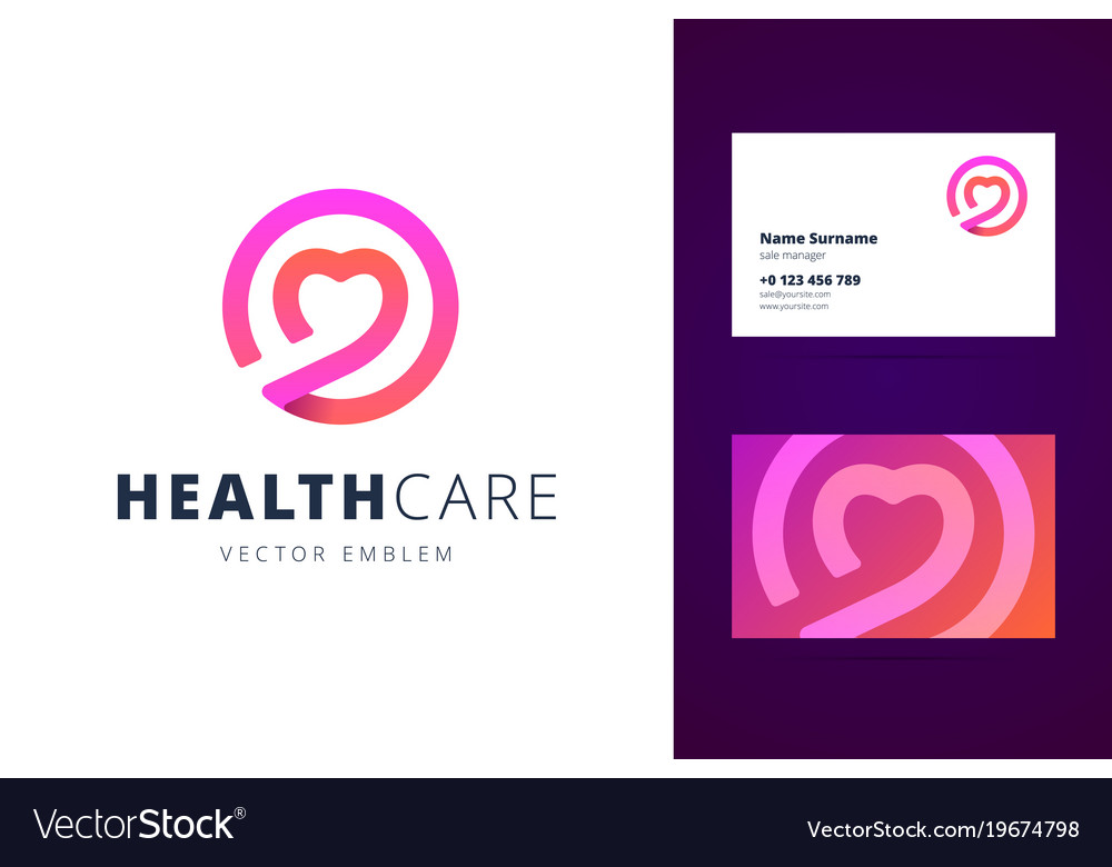 Health care logo and business card template vector image reheart Images