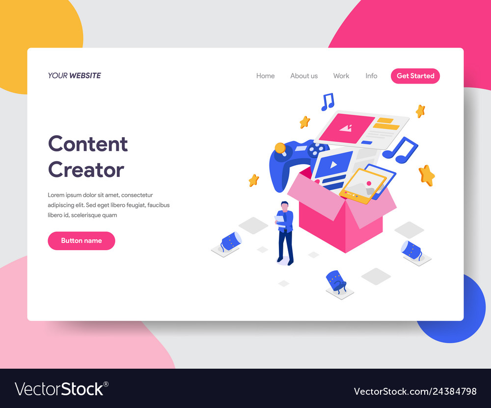 Landing page template content creator concept