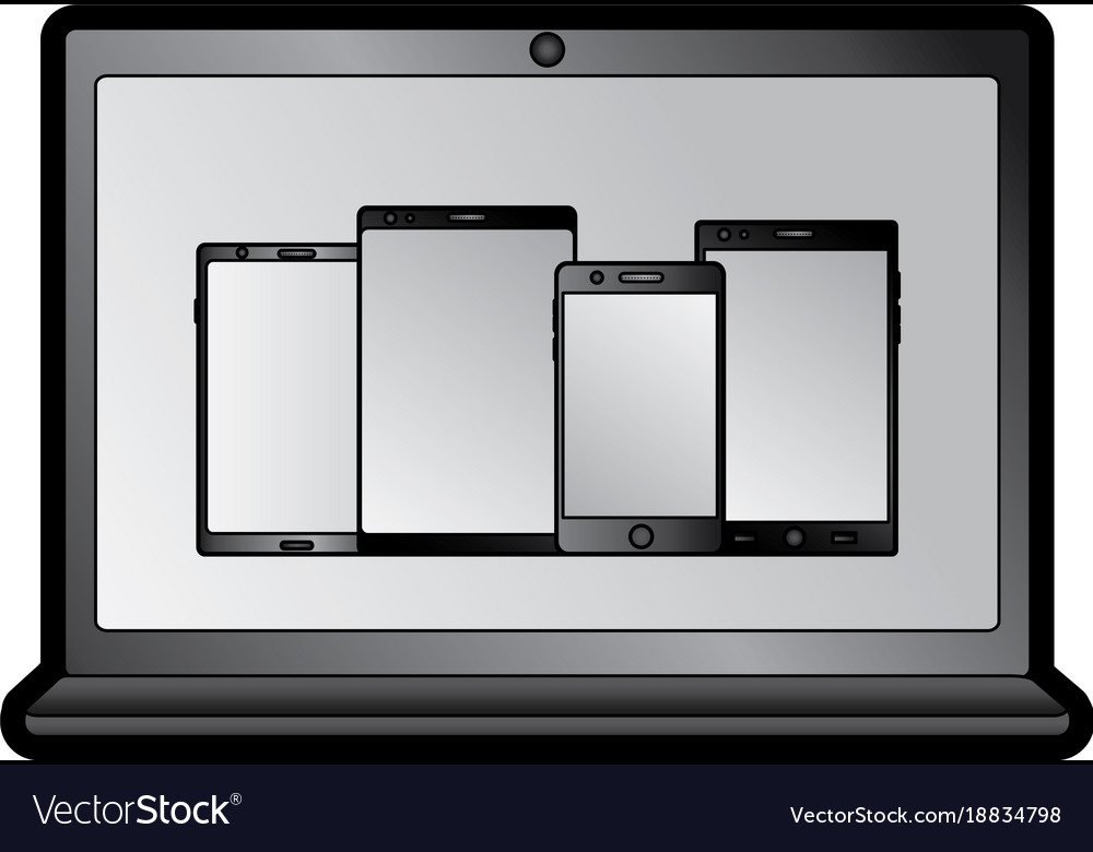 Laptop computer with smartphones on screen icon