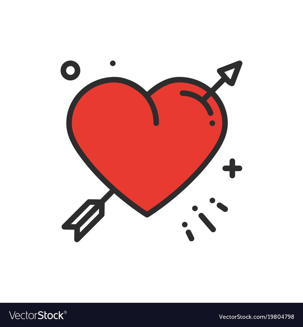 Love Line Arrow Heart Icon Happy Valentine Day Vector Image