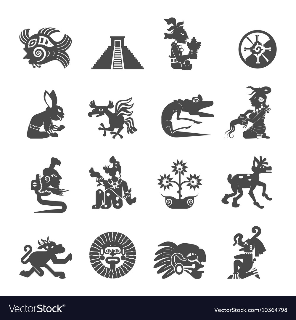 Maya Symbols Flat Icons Set Royalty Free Vector Image