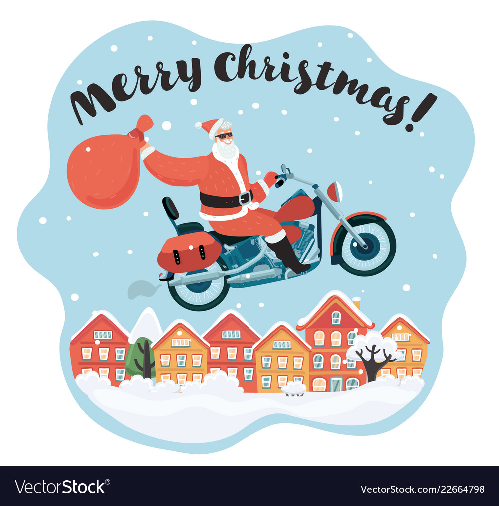 Merry christmas santa claus ride motorcycle