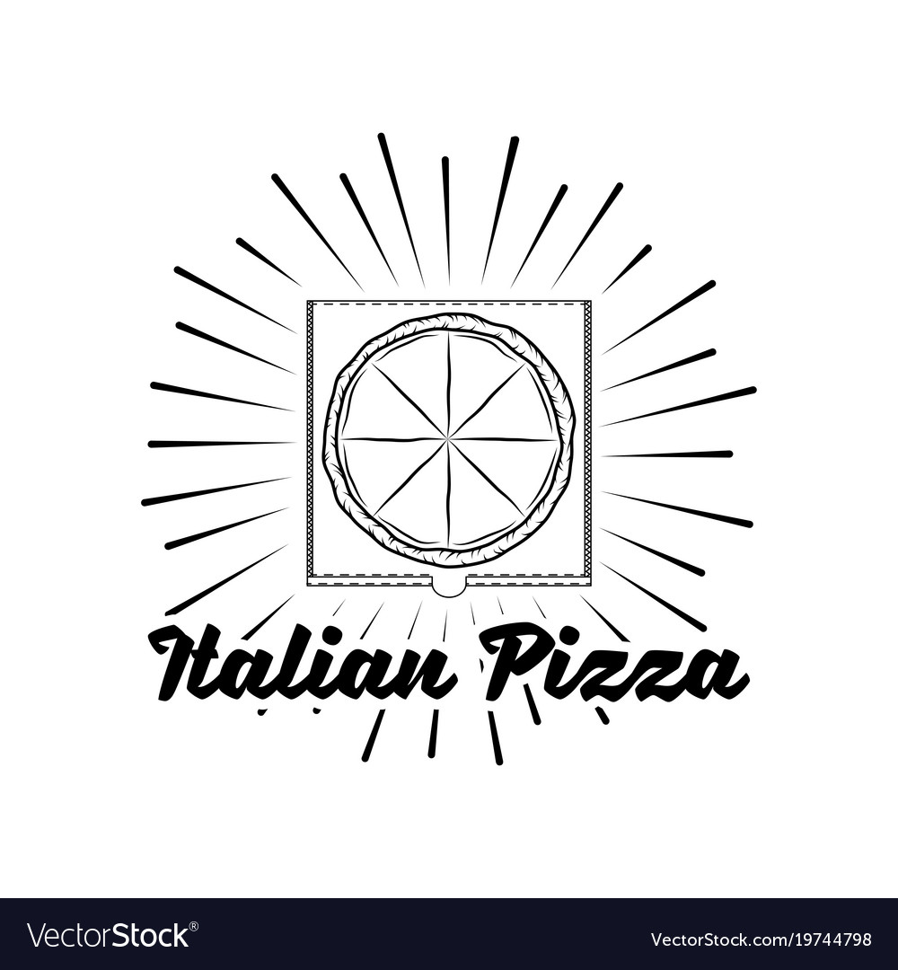 Pizza house badge box label with beams