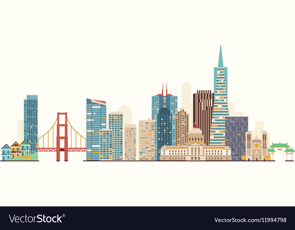 san francisco skyline royalty free vector image rh vectorstock com san francisco skyline vector art san francisco skyline outline vector