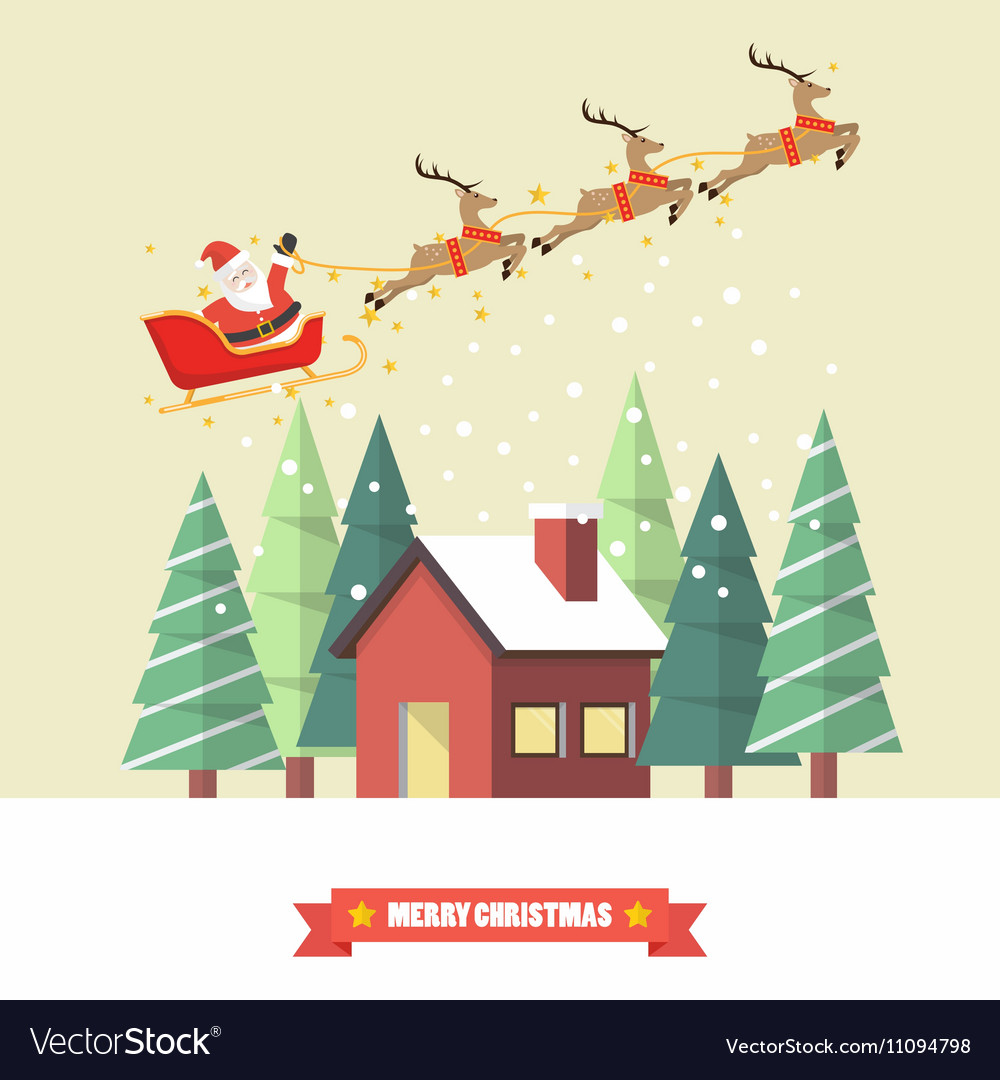 Santa Claus and his reindeer sleigh with winter vector image