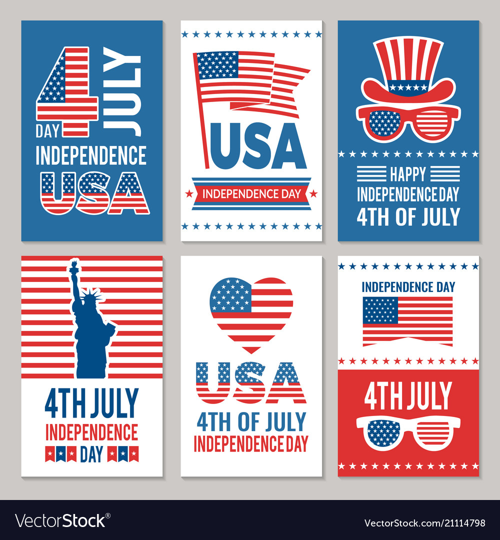 Usa independence day cards template of various 4